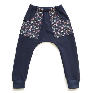 Harem Track Pants - Navy Small Floral